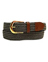 Luxury Divas Navy & Beige Braided Elastic Stretch Leather Tipped Belt Small AD