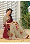A G Lifestyle Off white & Maroon Faux Georgette Saree with Unstitched Blouse AKS2019