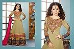 Kangna Ranaut Long Floor Length Brown Top & Pink Dupatta Georgette Top With Santoon Dupatta Resham & Heavy Zari Embroidery Work Unstitched Anarkali Salwar Suit