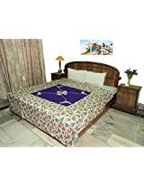 Amita's Home Furnishing Blue Color Patch Work Floral Design Double Bed Dohar Cum Duvet Cover