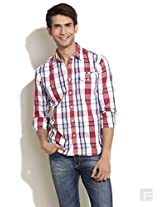 Checked Slim Fit Shirt With Flap Pockets-Red-L