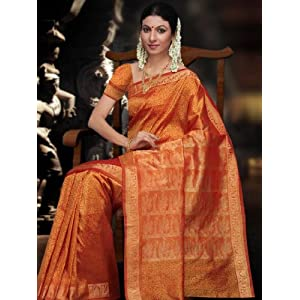 Orange South Art Silk Saree With Blouse