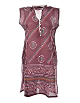 2Dots Women's Cotton Regular Fit Kurti (Maroon, 38 Inches)