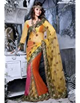 S2204 Festival Embroidered Net Fancy Lengha Saree | Color Multicolour