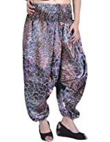 Exotic India Harem Satin Trousers with Printed Paisleys and Flowers - Color Night ShadowGarment Size Free Size