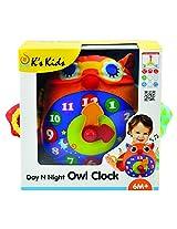 K's Kids Day N Night Owl Clock, Multi Color