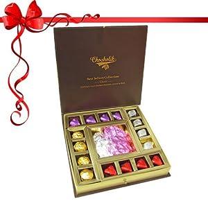 20pc Ultimate Dessert Chocolate Gift Box with Red Rose - Chocholik Luxury Chocolates