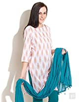 Block Printed Kurta With Cut-Out Neck-White-L
