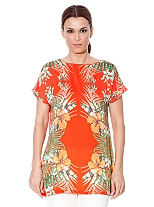 Cortefiel Bluse Blumen (Orange)