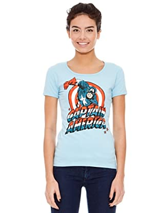 Logoshirt Camiseta Marvel - Captain América (Azul Claro)