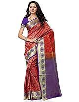 Meghdoot Artificial Kanchipuram Silk Saree (AABHARAN_CHERRYxPURPLE Traditional Pink and Purple Sari)