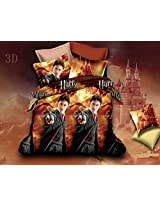 3D Harry Potter Printed Kids Double Bed Sheet (230x250 cm) with 2 pillow covers