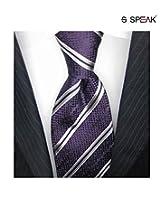 SPEAK Splendid Purple & Grey Diagonal Striped Tie