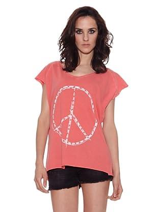 The Hip Tee Camiseta Peace + Star (Coral)