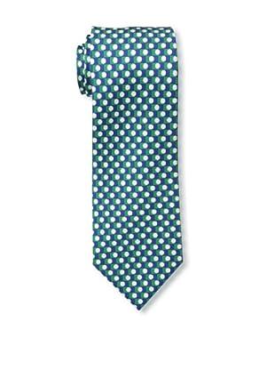 Battistoni Men's Baseball Printed Silk Tie, Green/Navy