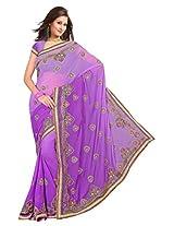 A.V.Fashion Embroidered Saree (1003_Purple)