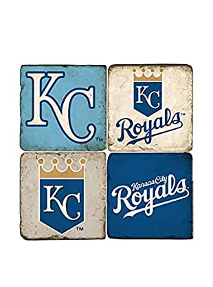 Studio Vertu Set of 4 Royals Logoed Tumbled Marble Coasters with Stand