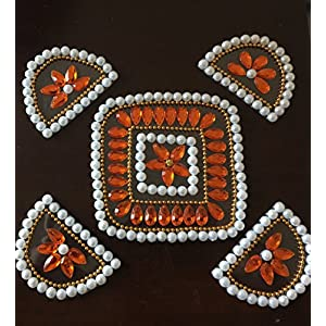 Rangoli Creations Pearl With Coral Rangoli