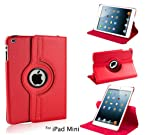 PTron iPad Mini 360 Degree Rotating PU Leather Case Cover Stand (Red)