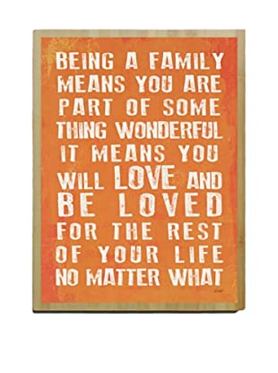 Artehouse Being a Family- Coral Bamboo Wood Sign, 20