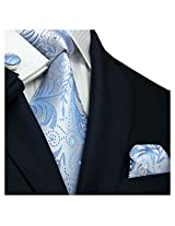 Landisun 114 Light Blue Paisleys Mens Silk Tie Set: Tie+Hanky+Cufflinks