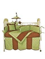Hoohobbers 4-Piece Crib Bedding, Dots Green