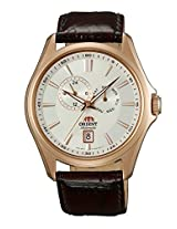Orient Men white Dial Brown Strap Round Shape (SET0R003W0)