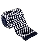"Retreez Vintage Casual Rhombus Style Men's 2.4"" Skinny Knit Tie - Navy Blue and White"