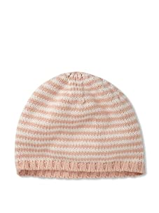 Chloe Girl's Striped Beanie Hat (Pink/White)