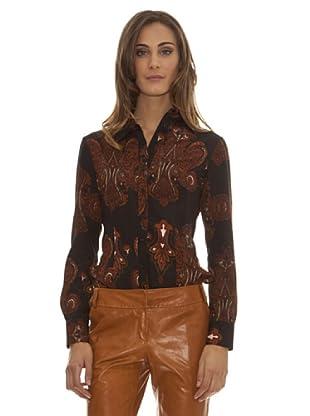 Trussardi Camisa Cierres Y Estampada (marrón)