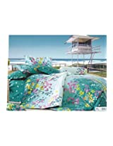 Sea green & White Floral Printed Luxury Flat Bedsheet, by Just Linen