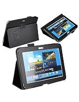 JKase (TM) Ultra Slim Folio Cover Case for Samsung Galaxy Note 10.1 inch Tablet N8000 N8010 16G 32G 3G 4G Wifi, Black