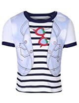 Babyhug Short Sleeves Top Jacket Print - Blue And White