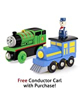 Thomas & Friends Wooden Railway Percy with Free Conductor Carl Train