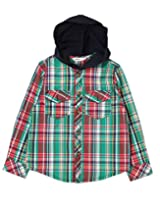 Beebay Boys Y/D Check Hooded Shirt (B0215205320215_Green Check_9Y)