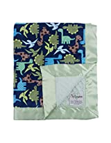 """My Blankee Dino Minky Midnight w/ Minky Dot Sage Green Baby Blanket, 30"""" x 35"""""""
