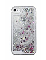 Phoenix Bling Sparkle Glitter Stars Dynamic Liquid Quicksand Clear Hard Case Frame for iPhone 4 4s 4g - Silver