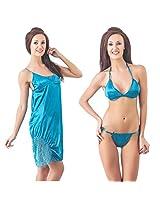 Fasense Womens Satin Nightwear ,Turquoise ,Free Size