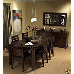 Induscraft 7 Pc Contemporary Sheesham Wood Dining Table Set