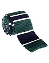 "Retreez Smart Elegant Wide Stripes Men's 2.4"" Skinny Knit Tie - Dark Green and Navy Blue"