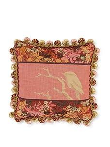 "Corona Decor Co. Garden Bird Collection 10"" Pillow, Rose/Plum/Beige/Orange"