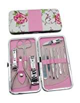 Okbool 12pcs Rose Stainless Steel Nail Clipper Care Personal Manicure & Pedicure Set Travel & Grooming Kit