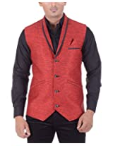 The Cosmos Men's Linen Slim Fit Suit (TCS JKT 001, Red, 44)