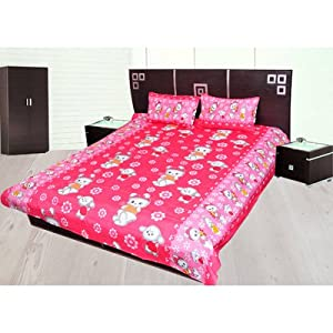 JBG Home Store 100% Cotton Kitty Print Double Bedsheet With 2 Pillow Covers