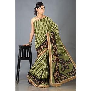Pure Cotton Printed Saree- Green