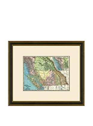 Antique Lithographic Map of British Columbia, 1886-1899