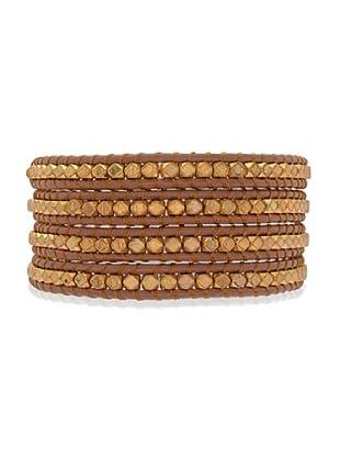 Lucie & Jade Echtleder-Armband Metallbeads braun/gold