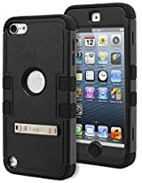 iPod Touch 5 Case, Bastex Heavy Duty Hybrid Kickstand Case - Soft Black Silicone Cover with Black Tuff Kickstand Case for Apple iPod Touch 5
