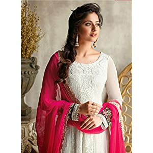 Classic White Colored Designer Anarkali Suit by Trendy Biba - Model Number TBSUFLO7294