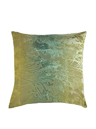 Kevin O'Brien Studio Hand-Painted Devore Velvet Pine Tree Pillow (Citron)
